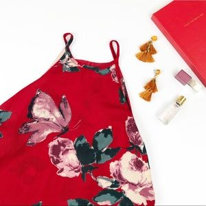 Abercrombie & Fitch red floral and butterflies top